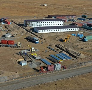 Вахтовый городок строителей Верхне-Нарынского каскада ГЭС. Архивное фото