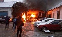 Пожар на пересечении улиц Медерова и Элебаева