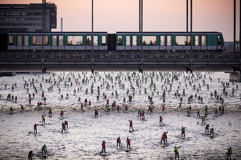 Париждин Сена дарыясындагы жыл сайын өтүүчү Nautic SUP Paris Crossing жарышы