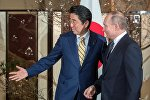 Президент РФ Владимир Путин и премьер-министр Японии Синдзо Абэ (слева) во время встречи в городе Нагато (префектура Ямагути)