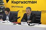 Министр финансов Кыргызской Республики Адылбек Касымалиев на пресс-конференции на тему Об основных параметрах республиканского бюджета на 2017 год и прогнозах на 2018–2019 годы в мультимедийном пресс-центре Sputnik Кыргызстан