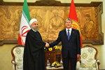 Кыргызстан менен Ирандын президенттери Алмазбек Атамбаев жана Хасан Роухани кеңири жыйында кыргыз-иран мамилелерин талкуулайт
