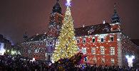 Люди вокруг Рождестенского дерева в Королевском замке в Варшаве, Польша
