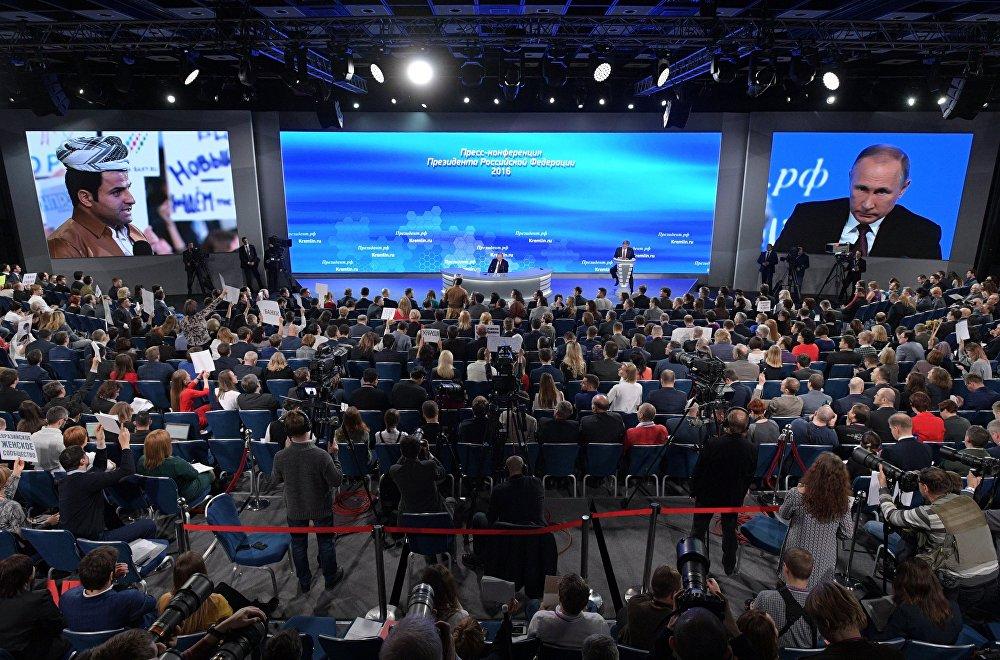 РФ президенти Владимир Путиндин жыл сайын өтчү маалымат жыйыны болуп, ал 3 саат 50 мүнөткө созулду
