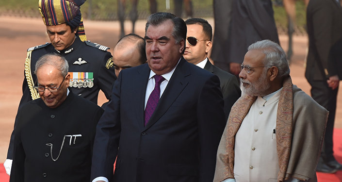 Президент Республики Таджикистан Эмомали Рахмон беседует с президентом Индии П.Мукерджи во время торжественного приема в Нью-Дели