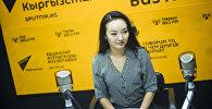 Стюардесса авиакомпании Эйр Манас Назгуль Байжанова во время интервью Sputnik Кыргызстан
