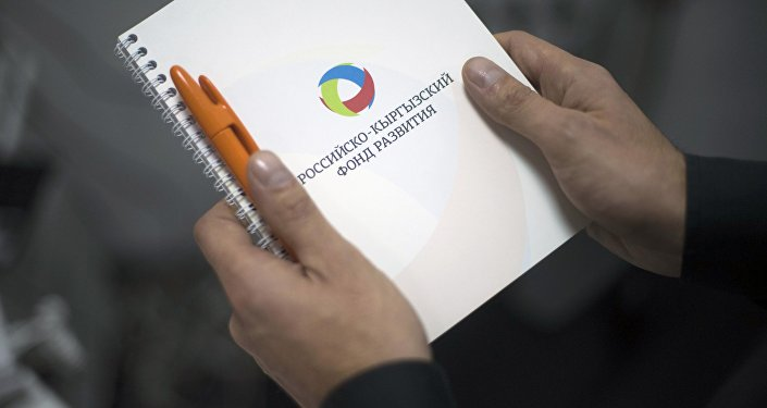 Мужчина держит папку с логотипом Российского-Кыргызского фонда развития (РКФР). Архивное фото