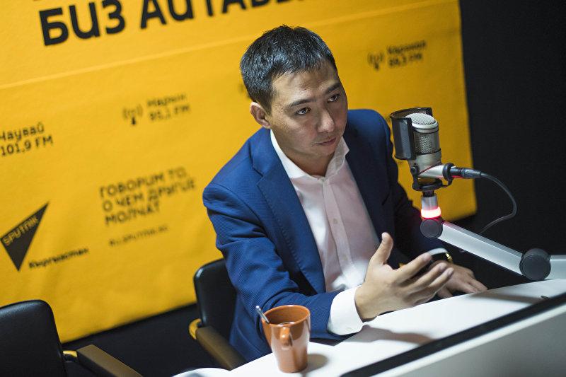 Заместитель министра культуры, туризма и информации, глава Департамента туризма Азамат Жаманкулов во время интервью на радио Sputnik Кыргызстан