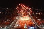 Красотища! Новогодний салют на площади Ала-Тоо в Бишкеке