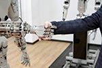 Робот жана адам. Архивдик сүрөт