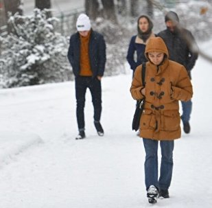 Горожане во время снегопада в Бишкеке. Архивное фото