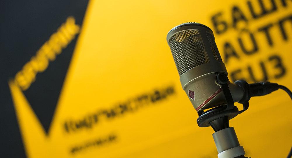 Микрофон на радио Sputnik Кыргызстан. Архивное фото