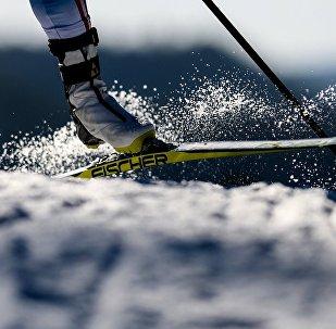 Лыжачы жарыш учурунда. Архив