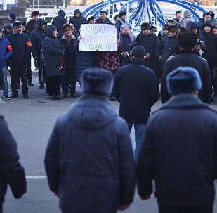 Бишкек мэриясынын алдына учурда шаар башчысы Албек Ибраимовду колдогондор митингге чыгышты.