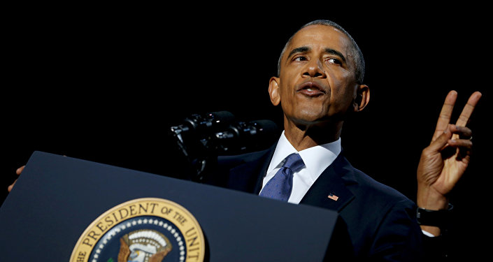 Президент США Барак Обама во время прощальной речи в Чикаго, штат Иллинойс, США. 10 января 2017 года