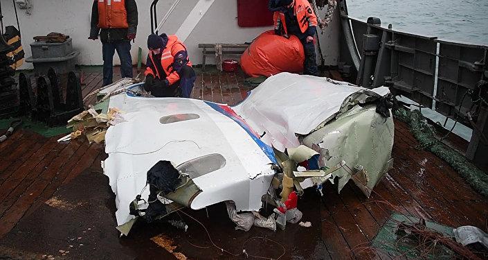 Найденные фрагменты самолета Ту-154, потерпевшего крушение над Черным морем у берегов Сочи.