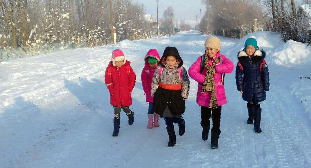 Школьники в Ат-Башинском районе, где столбик термометра опустился до -35 градусов