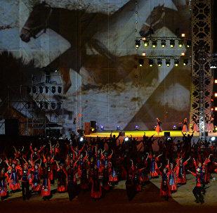 Концертная программа во время торжественного открытия Вторых Всемирных игр кочевников в Бактуу Долоноту. Архивное фото