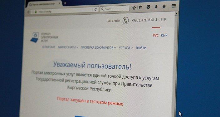 Снимок официального портала электронных услуг Государственной регистрационной службы (ГРС) КР