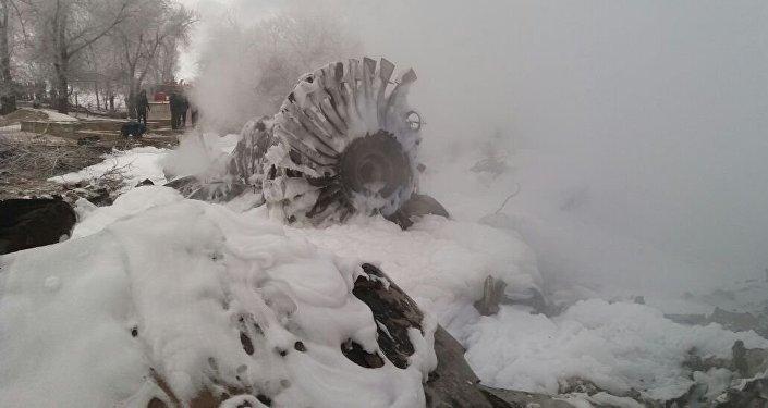 Обломки двигателя самолета Boeing-747 потерпевшего крушение недалеко от аэропорта Манас