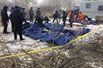 Тела погибших при крушении самолета Boeing-747 недалеко от аэропорта Манас