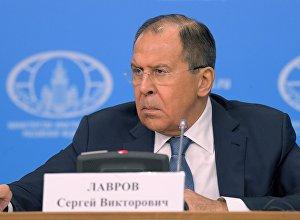 Министр иностранных дел РФ Сергей Лавров на пресс-конференции по итогам деятельности российской дипломатии в 2016 году