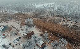 Вспаханный смертельный путь упавшего самолета — кадры с дрона