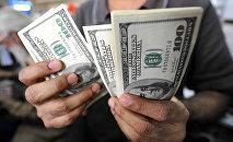 АКШ долларларын санап жаткан адамдын архивдик сүрөтү