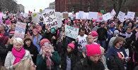 Женские марши против Трампа в Нью-Йорке, Вашингтоне, Лос-Анджелесе и Париже