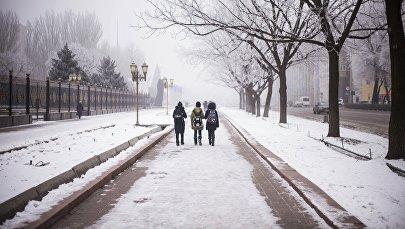 Зима в городе Бишкек