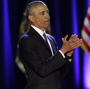 Президент США Барак Обама во время прощальной речи в Чикаго