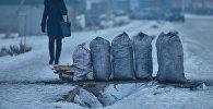Мешки угля на продажу в Бишкеке. Архивное фото