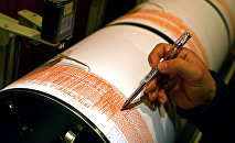 Сейсмолог показывает на сейсмограф. Архивное фото