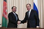 Министр иностранных дел РФ Сергей Лавров и министр иностранных дел Афганистана Салахуддин Раббани на пресс-конференции по итогам встречи в Москве.