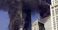 Башни Всемирного торгового центра после атаки террористов 11 сентября в 2001 году, Нью-Йорк