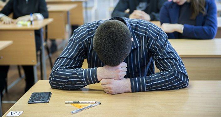 Ученик в классе. Архивное фото
