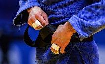 Спортсмен на соревнованиях по дзюдо. Архивное фото