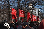 Текебаевдин тарапташтары митингте. Архивдик сүрөт