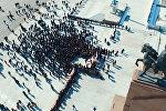Аэросъемка митинга сторонников Текебаева на площади Ала-Тоо