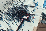 Текебаевдин тарапташтарынын Ала-Тоо аянтындагы митинги — асмандан көрүнүшү