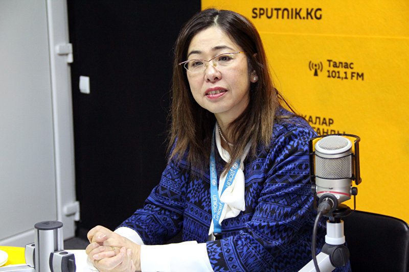 Руководитель Детского фонда ООН (ЮНИСЕФ) в Кыргызстане Юкиэ Мокуо во время интервью Sputnik Кыргызстан