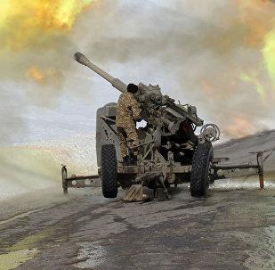 Обстрел лавинных очагов сотрудниками МЧС на автодороги Бишкек-Ош. Архивное фото