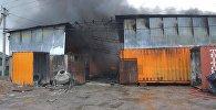 Пожар на частном складе с автомобильными запчастями в Канте