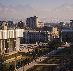 Вид на город Бишкек со стороны филармонии. Архивное фото