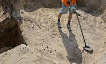 Археолог на раскопках с металлоискателем. Архивное фото