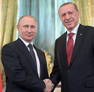 Президент РФ Владимир Путин и президент Турции Реджеп Тайип Эрдоган (справа) во время встречи перед началом шестого заседания Совета сотрудничества высшего уровня между Российской Федерацией и Турецкой Республикой