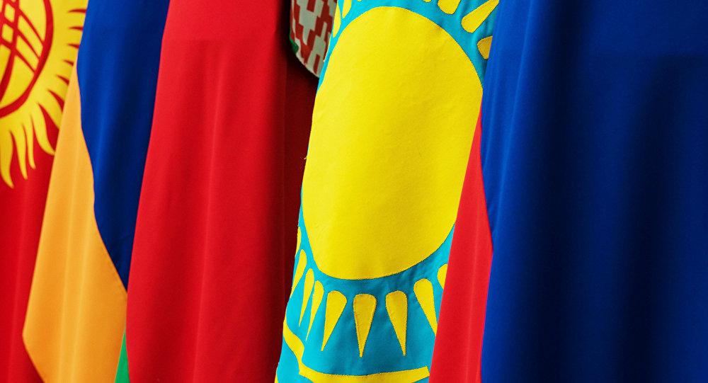 Флаги Кыргызстана, Армении, Белоруссии, Казахстана и России - стран, участниц ЕАЭС. Архивное фото