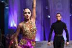 Победители в категории взрослые Латина на международном турнире по спортивным, бальным танцам в Киеве Кибкало Алексей и Когадей Татьяна