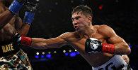 Казахстанский боксер Геннадий Головкин (GGG), чемпион мира в среднем весе по версии четырех профессиональных боксерских организаций во время боя с американцем Дэниелом Джейкобсом
