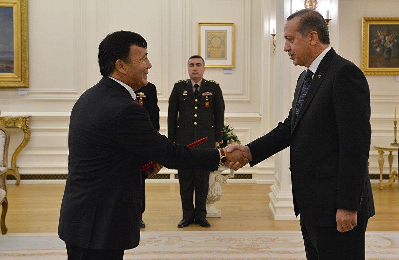 Посол Кыргызстана в Турции Ибрагим Жунусов во время встречи с президентом Турции Реджеп Тайип Эрдоганом. Архивное фото